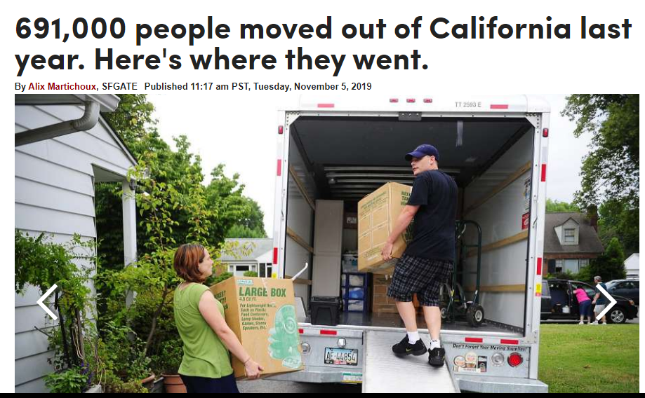 SF Gate article headline and photo of people loading a u haul moving truck.